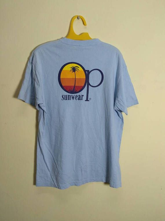 premium selection a7014 6ee98 Vintage OP Ocean Pacific Sunwear Big Logo on the Back Drawing T Shirt by  ArenaVintage