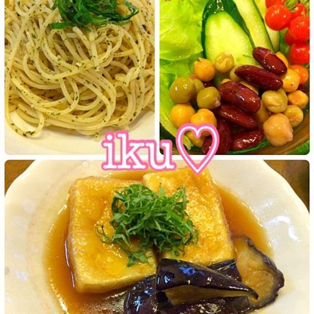 高野豆腐の揚げ出し風に、いよこさんの真似っこ揚げ茄子も一緒に♡ いよこさん食べともお願いします( •ॢ◡-ॢ)-♡ - 52件のもぐもぐ - 高野豆腐の揚げ出し風、梅しその和風パスタ、ビーンズサラダ♡・*:..。♡*゚¨゚゚・ by ichinana