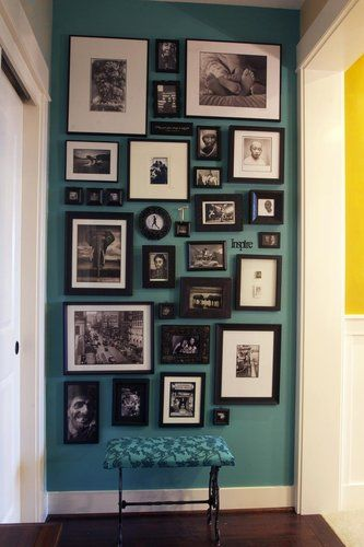 Picture wall: Wall Colors, Idea, Hallways, Frames, Paintings Colors, Galleries Wall, Photos Wall, Pictures Wall, Accent Wall