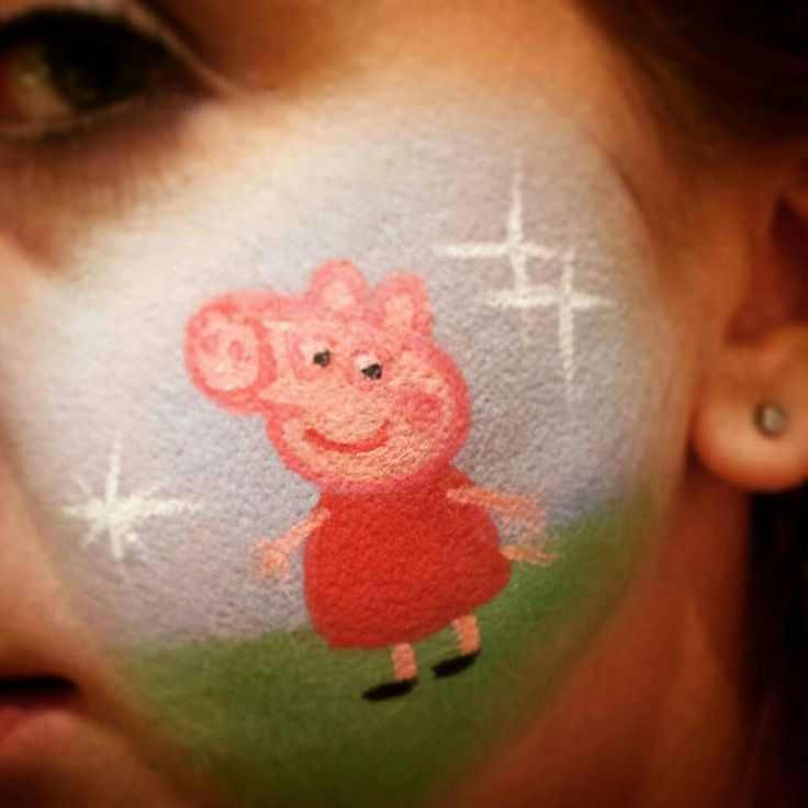 Peppa Pig Cheek Art www.facebook.com/ThePaintedFace www.instagram.com/the_painted_face