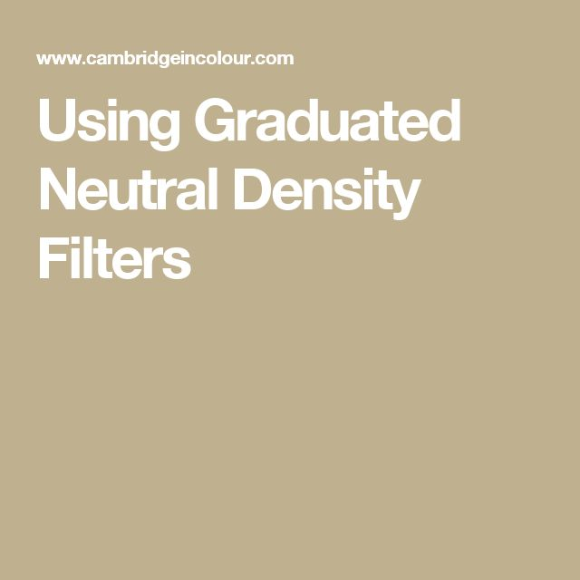 Using Graduated Neutral Density Filters