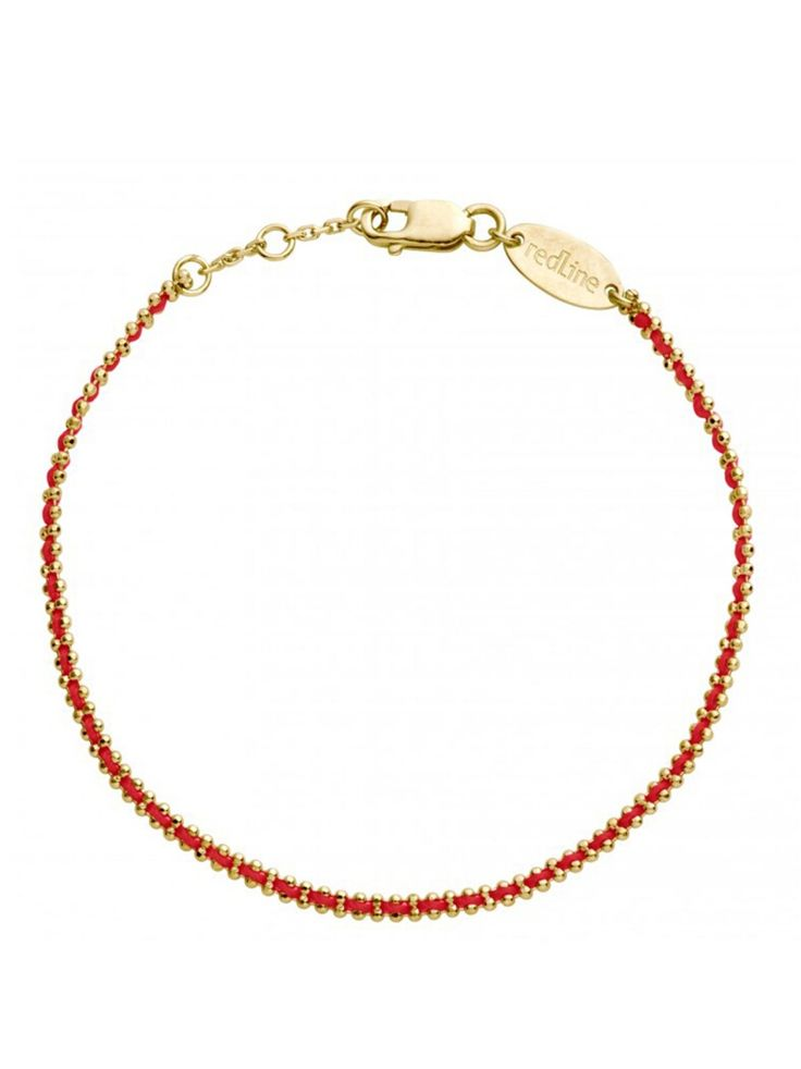 RedLine Jewelry - Aurore Red Bracelet - Yellow Gold  Subtle and chic, this red string RedLine bracelet is enlaced in a gold chain that sparkles. Perfect for everyday stacking.  Handcrafted in 18-karat yellow gold. Bracelet adjusts from 6-in. to 6 1/2-in. long. Three linked bracelets make the bracelet adjustable.