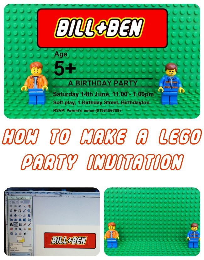 How to make a LEGO birthday party invitation (Free template to download and edit, with a tutorial and links to website resources)