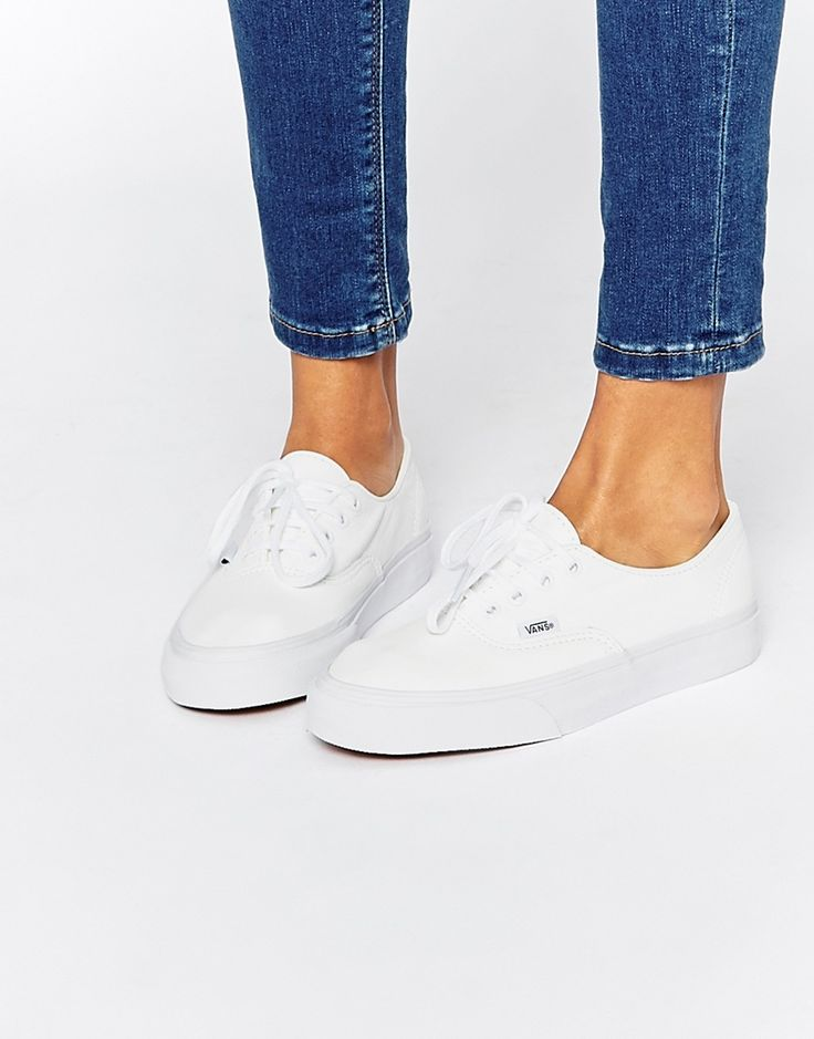 Image 1 ofVans Authentic Decon White Leather Trainers