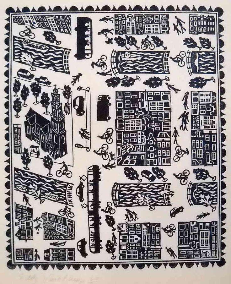 big map of Amsterdam, part '9 streets' - Linocutprint