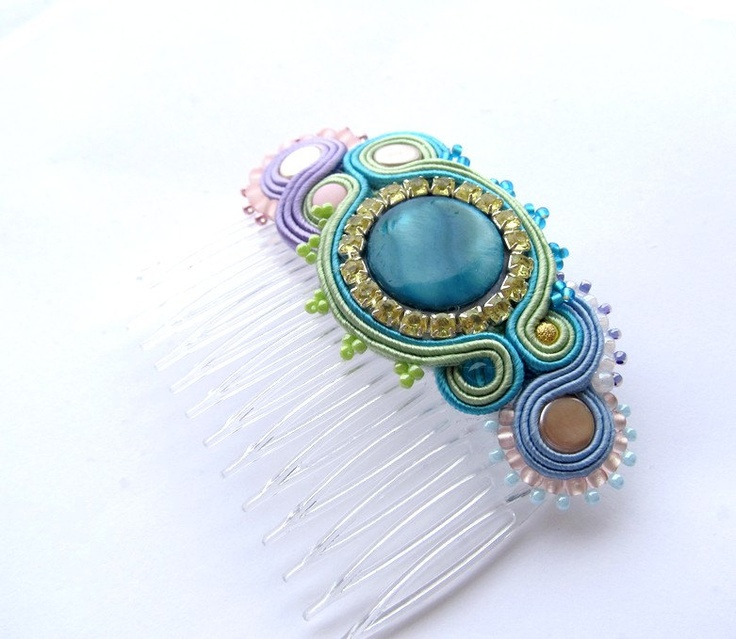 Pastel Soutache Comb Clip Embroidered Hand Made Accesories Zircons Beads Shells Colorful Hand Made Acesories Gift. $19,00, via Etsy.