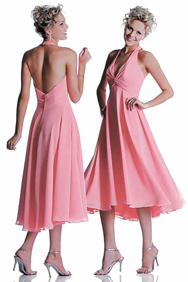 #Vestido de #Dama de #Honor #Largo y #sexy de #Gasa sandía con #Escote Halter Volante #Plisado - Persun.es
