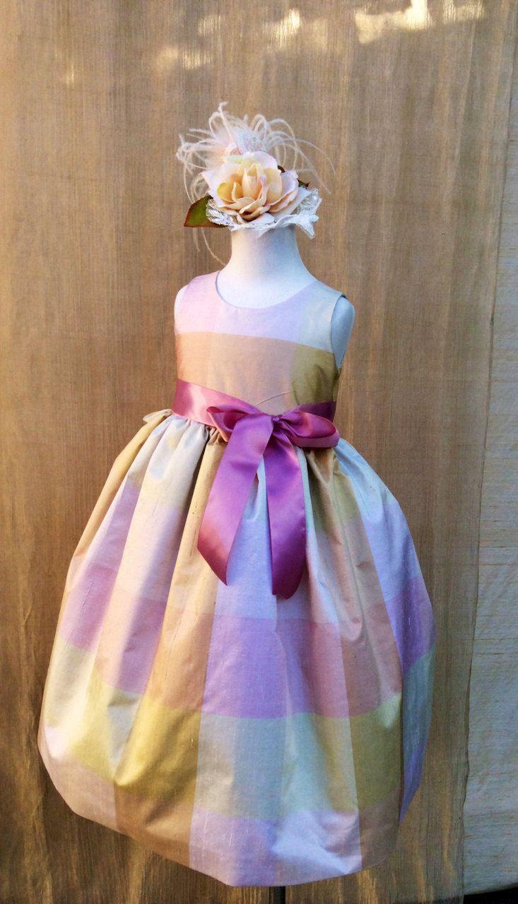 Girls Silk Party Dress | Easter Dress For Toddler Girls