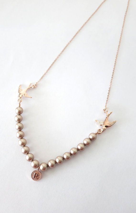 Rose Gold Love Birds and Pearls necklace rose- think I'd like this more without all the pearls. ..