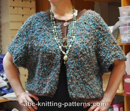 One Skein Knit Patterns : ABC Knitting Patterns - One-Skein Cropped Raglan Cardigan. Knitting -- Swea...