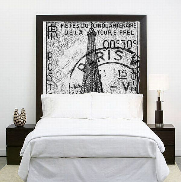 instantly sets a mood. Oversized pic plus molding as frame creates a fab DIY headboard.