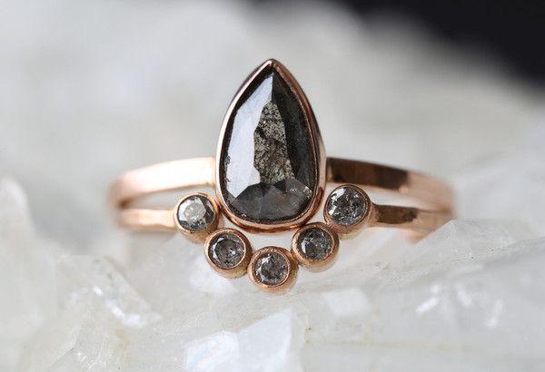 natural black diamond engagement ring + arc diamond wedding band :: Alexis Russell