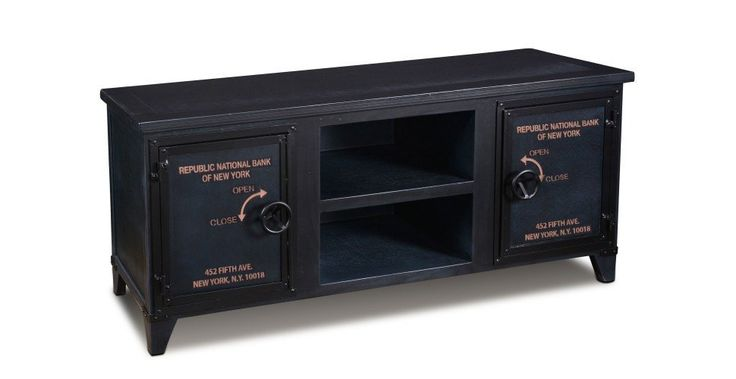 Inspired by bank safes from the 1800's in Paris - New York City text - Painted black wood with metal accents - Unique hand forged door handle - Designed to be the perfect TV stand with open compartmen