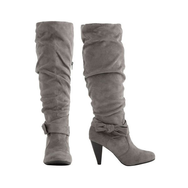 Tall Faux Suede Boot - Teen Clothing by Wet Seal ($15) ❤ liked on Polyvore featuring shoes, boots, heels, botas, sapatos, faux suede boots, tall boots, tall heel boots, knee high heel boots and wet seal