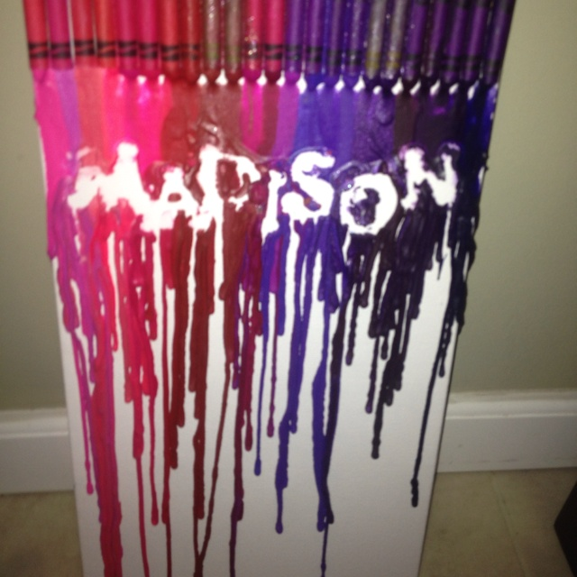 Kids name with melted crayons on canvas crayola crayons for How to make a melted crayon art canvas