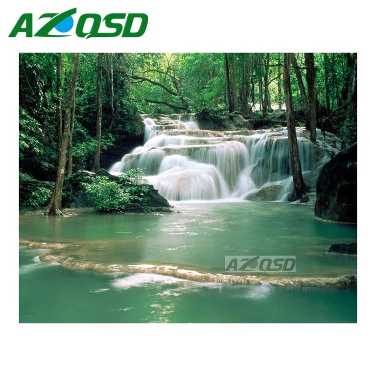 AZQSD DIY Green Waterfall Pool Diamond Painting Cross Stitch Full Square Drill Diamond Embroidery SetMosaic Painting bb4832 #Affiliate