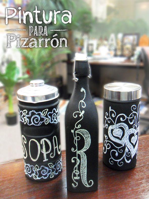 Frascos de vidrio con Pintura Para Pizarrón / Decoración para el hogar