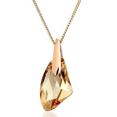 Elegant 18K Rose Gold GP SWAROVSKI Citrine Crystal Fashion Necklace W748