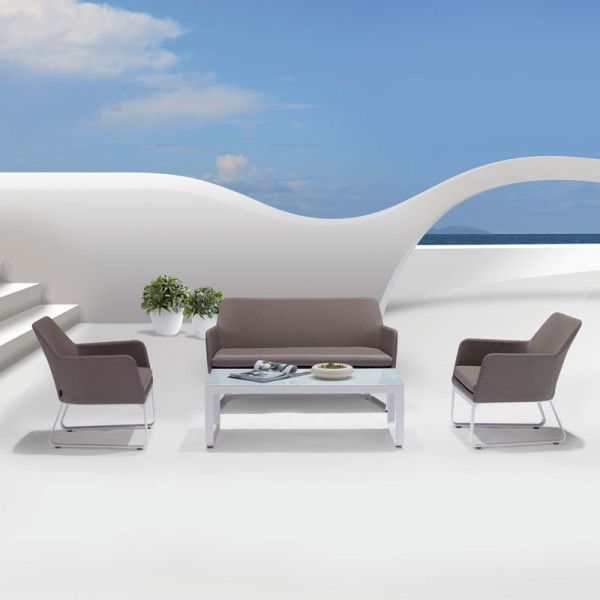 Phorma Outdoor Lounge Suite. Upholstered in fabric which can handle the rain, sun and dust and still look good in years to come!