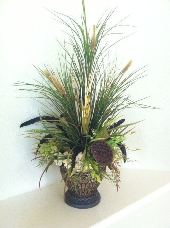 Natural tall grass arrangement with dried pods feathers