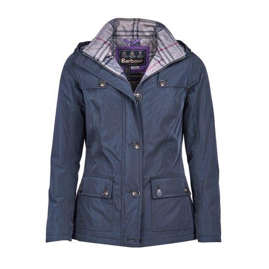Barbour Com Barbour Oldany Waterproof Jacket Women Taupr/Navy Winter Tartan…