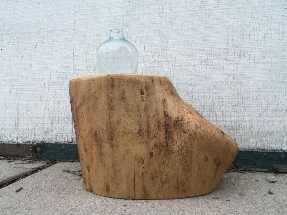 Reclaimed Raw Wood Stump Stool Or Side Table