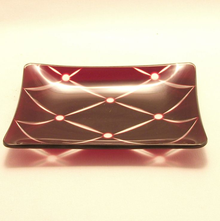 Chance glass Ruby Quilt intaglio rectangular dish