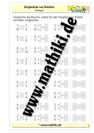 Vergleichen von Brüchen - ©2011-2016, www.mathiki.de - Ihre Matheseite im Internet #math #bruch #fraction #arbeitsblatt #worksheet