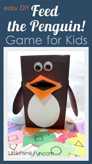 """Feed the penguin! Fun DIY preschool game. - could have cards that say """"Fred the penguin only eats circle fish"""" or """"Harvey the penguin only eats square fish"""" also could do with letters """"Patty only eats vowels"""" etc"""