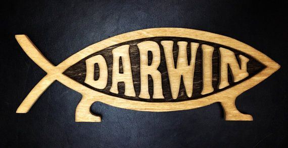 """Darwin FTW!  Approx 10"""" long and 5"""" high. Includes wall hanger on the back - Can substitute for magnet to hang on fridge if preferred."""