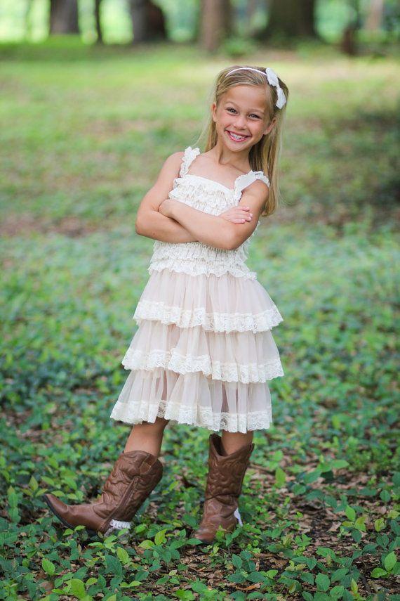 Girls Chiffon Dress Flower Girl Dresses Cream dress by jamiepowell