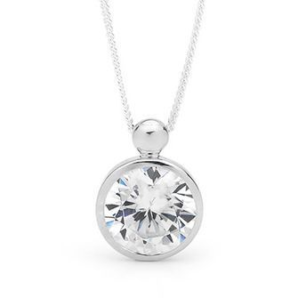 Buy our Australian made Large Cubic Zirconia pendant Silver - BEE-35019-CZ online. Explore our range of custom made chain jewellery, rings, pendants, earrings and charms.