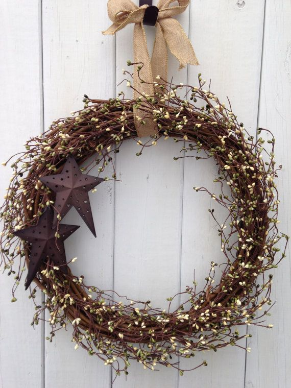 18 Rustic wreath Primitive Wreath Country by TinHeartDesigns, $55.00