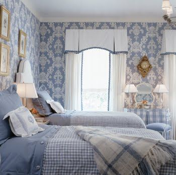Blue bedroom by Kelley Proxmire with damask wallpaper, gingham bedding and vintage accessories                                                                                                                                                                                 More
