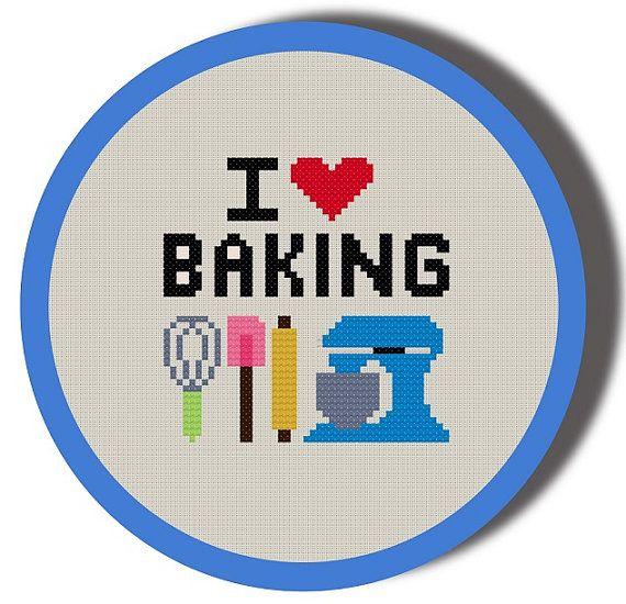 I Heart Baking Cross Stitch Pattern PDF by cardscrafter on Etsy, $5.00