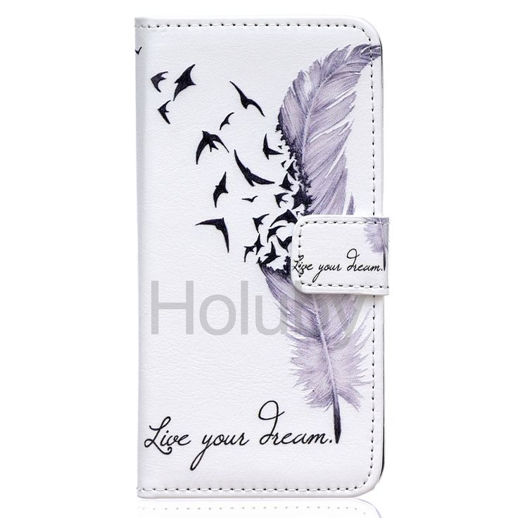 Wallet Style Magnetic Flip TPU+ PU Leather Stand Case for iPhone 6 Plus/ 6S Plus - Feathers