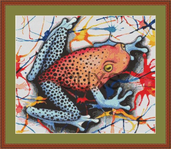 Primary tree frog modern counted cross stitch by UnconventionalX, $15.00