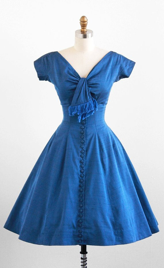 vintage 50s dress / 1950s dress / Blue Buttons by RococoVintage