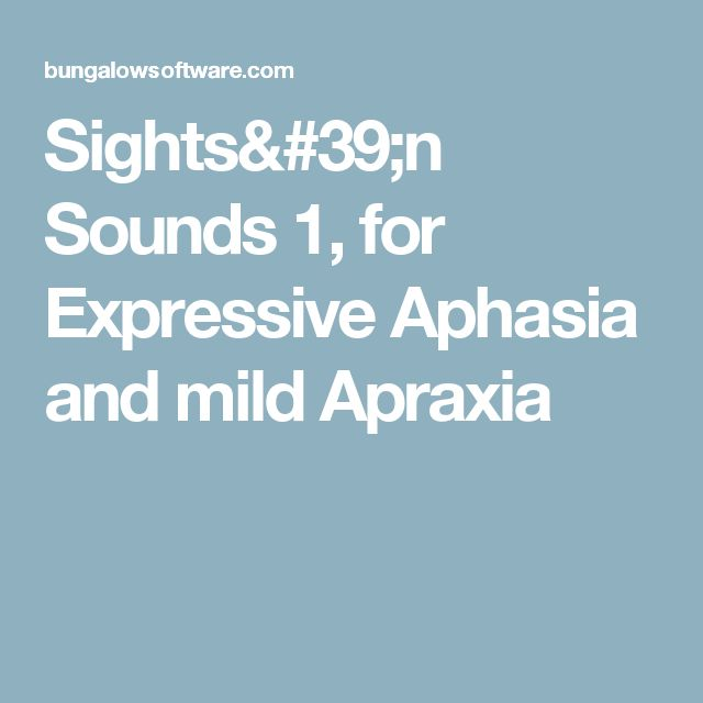 Sights'n Sounds 1, for Expressive Aphasia and mild Apraxia