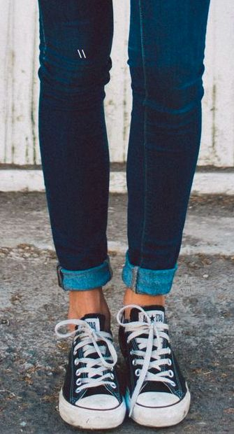 converse rolled up jeans
