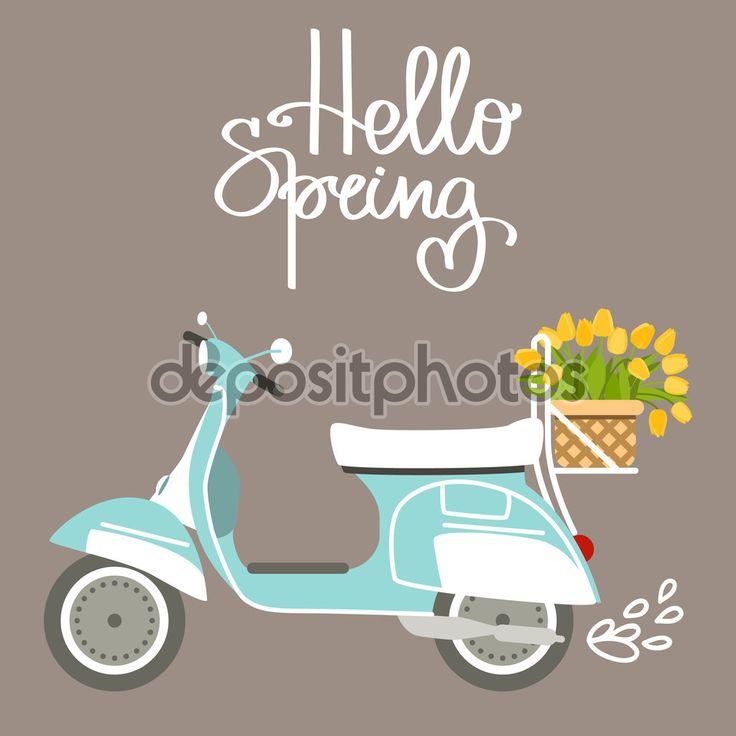 Vectorillustratie met scooter en tulpen in vlakke stijl. Tekst Hallo lente. Ontwerpen voor verjaardag of bruiloft kaart