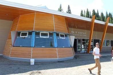 Parklex Facade can be used in many unique ways - check out this project using thin slats of Parklex (Gold) at Canim Lake in beautiful BC. #brilliantbuildings