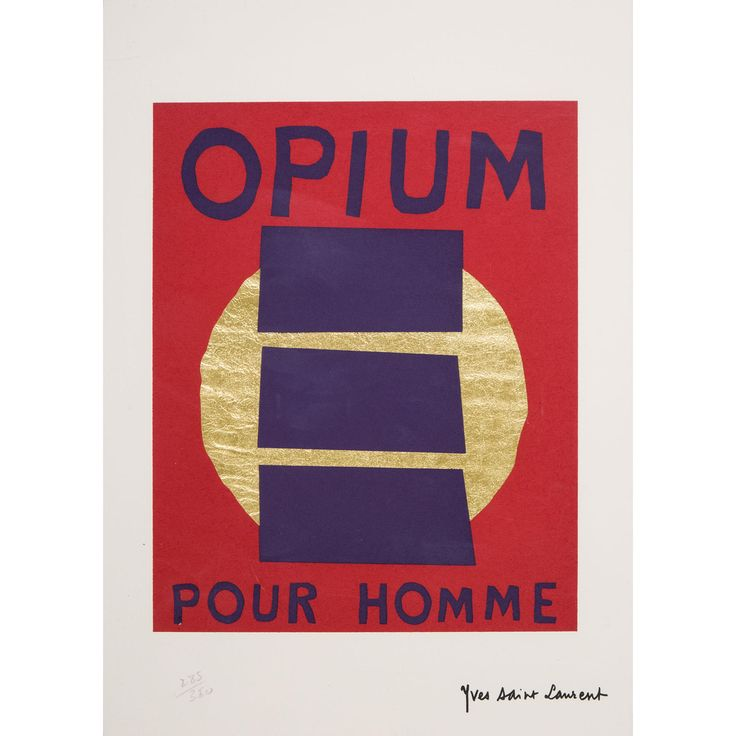 This small print is a celebration of Yves Saint Laurent's famous fragrance Opium pour Homme which was released in 1995, 17 years after its female equivalent.   The composition is focused on three central purple bars that are representative of the three lines that were designed on the perfume bottle. The excellent quality of this print is rendered by the bright gold color that composes the circular motif.