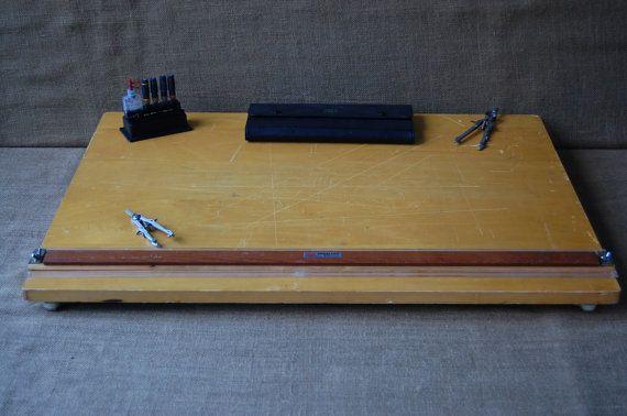 Portable Drafting Table Slide Rule Wood by PickersWarehouse