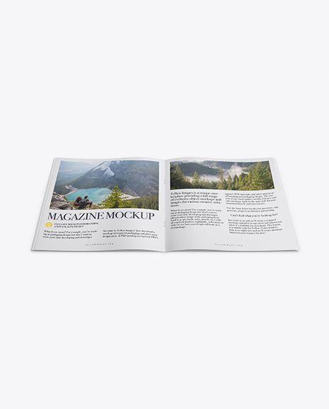 Opened Magazine Mockup - High Angle Shot