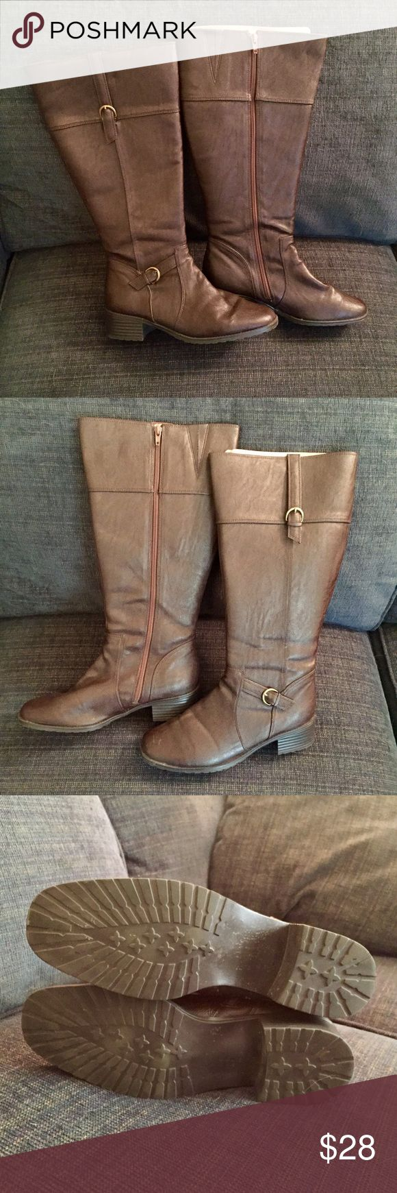 BOUQUET Brown Riding Boots BOUQUET Boots - Women's size 10M - Dark brown, zips up inside - Detailed with seams and buckles - worn a few times, great condition! Bouquet Shoes
