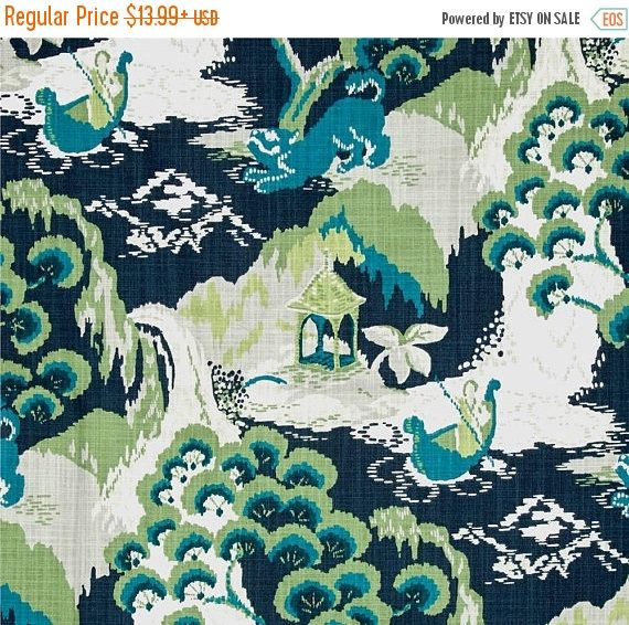 Navy Blue Green Upholstery Fabric, Toile Curtains Material, Dark Blue Green Scenic Drapery Fabric, Asian Pillow Covers Fabric - by the yard