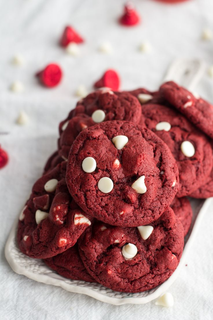 White Chocolate Chip Red Velvet Cookies made super easy with Bisquick! Super chewy!