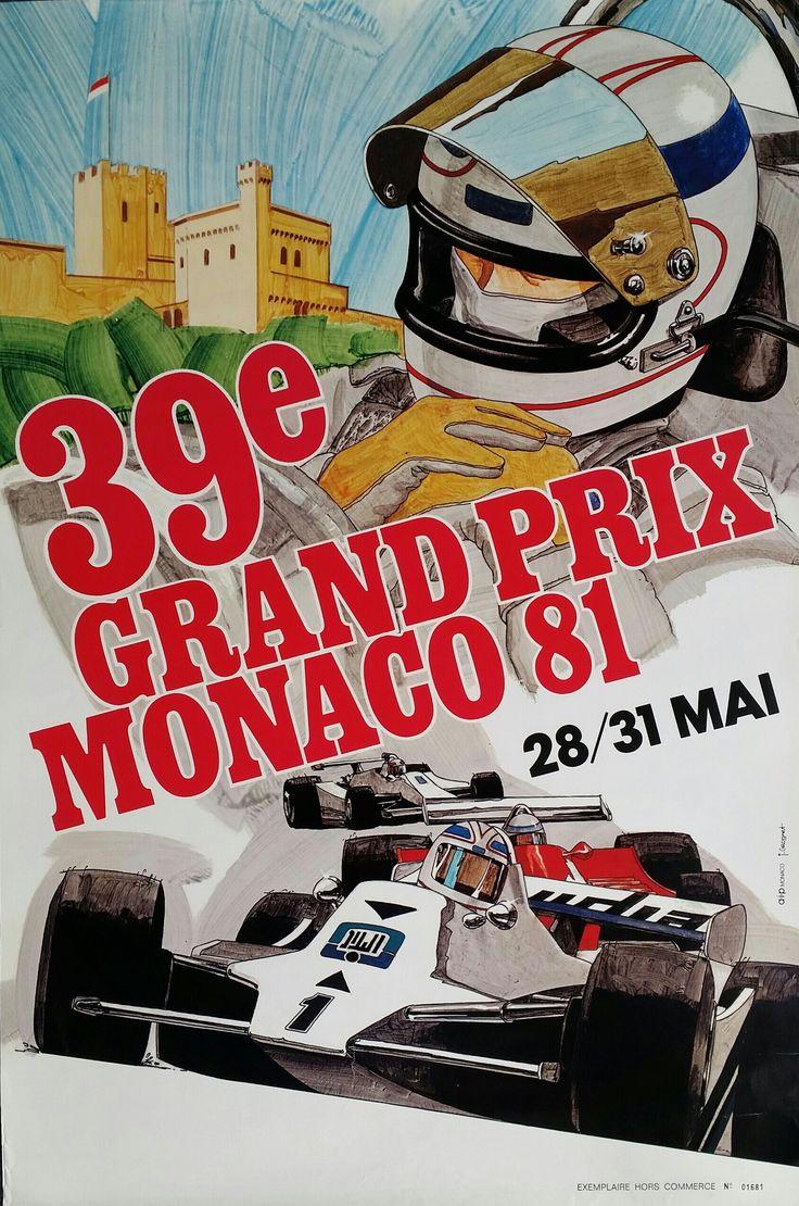 Original vintage poster grand prix de monaco 1981