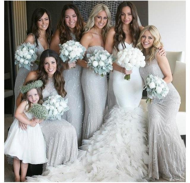 Light Gray Bridesmaid Dresses: Glitter Grey Bridesmaids Dresses